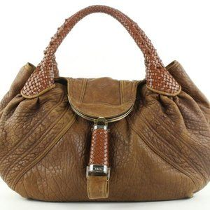 Fendi Large Brown Leather Spy Hobo Bag with Woven
